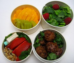 Meatballs and gold kiwi salad lunch