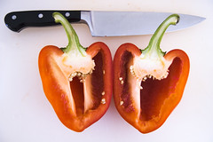 bell pepper (paul goyette) Tags: red white pepper knife seeds wikipedia 1855mmf3556g gazpacho bellpepper redbellpepper