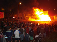 12th Night Bonfire, North Belfast (Howard.) Tags: yellow fire lights belfast 2006 northernireland happening crouds