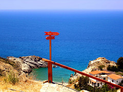 Ikaria 259 (isl_gr (Mnesterophonia)) Tags: beach hiking beautyconcealed ikaria icaria  aegean trails greece signage photoshoped nas trailmarker cartepostale ege hikingikaria     theroundofrahesonfoot