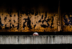 The Ball. (Ryan Brenizer) Tags: nyc newyorkcity orange newyork black abandoned basketball subway nikon rust decay ominous manhattan july 2006 noflash gothamist d200 stark morningsideheights 1line 85mmf14d 123rdst