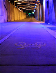 blue lights (Clémence GRINCOURT de FLOGNY) Tags: road street blue light paris france color colors night europe nightshot couleurs 2006 bleu nuit catchy
