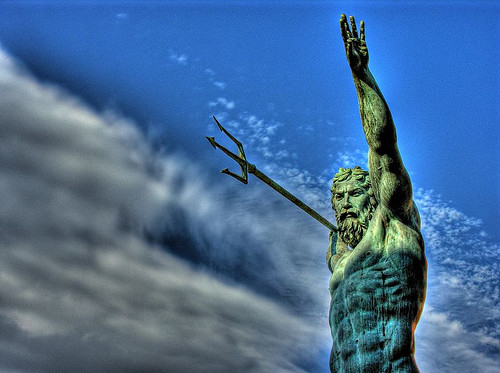 Romans gave to the Greek god of the sea and earthquakes, Poseidon.