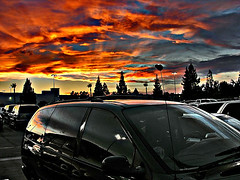 close encounter (Kris Kros) Tags: california ca sunset red sky orange cloud sun public car silhouette photoshop cool nikon pix ray parking ps glorious socal kris nightlife van jjj northridge kkg closeencounter kros bloue kriskros nothdr kk2k kkgallery