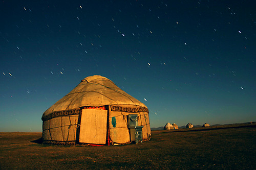 Yurt in Moonlight, Kyrgyzstan
