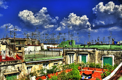 The Rooftops of Napoli (Stuck in Customs) Tags: sky italy clouds italia rooftops napoli naples hdr antenna valpopando nikonstunninggallery