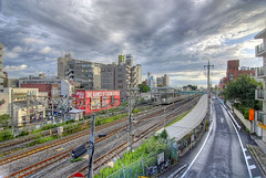 View over the trainlines (Camera Freak) Tags: sunset station japan clouds train japanese nikon asia d200 pachinko hdr photomatix nikond200 tonemapped tonemapping 5xp kitakogane