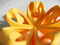 Icosahedron II: Textured Yellow (Richard Sweeney) Tags: sculpture color colour art geometric yellow paper paperart design origami fineart curves craft folded organic curved paperfolding papercraft naturalform papersculpture artsculpture paperstructure richardsweeney