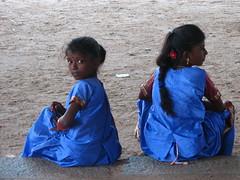Blues in Bhaktavatsaleshwara (Christian Lagat) Tags: blue portrait woman india girl children geotagged women femme enfant fille tamilnadu inde भारत tirukalikundram 50millionmissing
