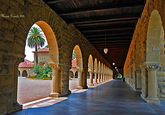 STANFORD UNIVERSITY (mariagrandi985) Tags: architecture arches lightandarchitecture california stanford palm shadeandlight columns lamps woodceiling mariagrandi985 perspective vanishingpoint