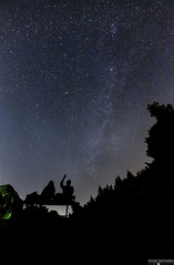 stargazing! (George Spanoudakiss) Tags: trees light portrait mountain lake silhouette female night stars outside outdoors fuji posing greece astrophotography fujifilm parnitha