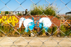 Graffiti (Clo's Photography) Tags: street city blue urban streetart art abandoned love broken lost hope grafitti sad message artistic melbourne tags litter forgotten ugly vandalism spraypaint barbwire vandals