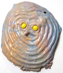 Two Yellow Balls (Daniel Wiener) Tags: color art face mask contemporaryart 2014 onthewall contemporarysculpture wallrelief facessculpture apoxiesculpt facessculptur
