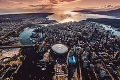 Aerial of Downtown Vancouver Sunset by Jeff Lombardo (inspiration_de) Tags: ca city sunset canada mountains rooftop vancouver photography downtown britishcolumbia helicopter travelphotography lifestylephotography jefflombardo jefflombardocom jeffsettincom jefflombardophotography
