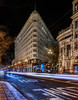1913 flatiron (pbo31) Tags: winter 2017 pbo31 boury bayarea nikon d810 sanfrancisco california january lightstream motion traffic roadway city color night dark structure marketstreet black 1913 flatiron infinity downtown financialdistrict panoramic large stitched panorama patterns