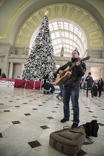 Luke Nephew Leads a Song During an Anti-Torture Demonstration at Union Station