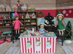 11. Busy Elves in the North Pole Bakery (Foxy Belle) Tags: christmas miniature dollhouse 16 scale holiday playscale bakery candy cookie sweets shop red green food doll vintage betsy mccall felt 8 tiny elf handmade sew ooak