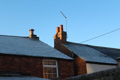 Blue Sky Blue Ice (Josiedurney) Tags: december icy frosty ice frost cold freezing blue sky morning house windows bricks wires telephonewires aerial wall earlymorning clearsky cloudless horizon