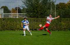 Soccer match (PhotographyStam) Tags: sport sports voetbal foot bal footbal football run people fly sail sailing surfing fun sweat contact grass shoes goal goals sky clouds hair agression tackle footwork running sprint distance