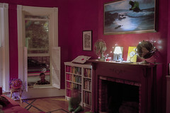 (patrickjoust) Tags: baltimore maryland home domestic livingroom fujicagw690 kodakportra160 6x9 medium format rangefinder 90mm f35 fujinon lens manual focus analog mechanical film patrick joust patrickjoust usa us united states north america estados unidos autaut c41 color night after dark long exposure cable release tripod md living room man kid boy godzilla painting fan globe earth