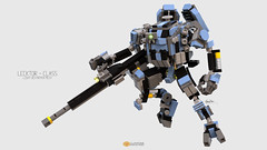 Lecktor Class Mech (clmntin.E) Tags: walk walker weaponized mech mecha mechanical robot military futuristic future afol argonaut destroyer mocs moc mini miniland minifig minifigurines hardsuits exosuits exo hard suits digital designer lego pov ray bluerender blue render clmntine industries my own creation
