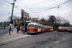 MBTA PCC3072+1 BostonCollegeSta 11-3-1975 (ironmike9) Tags: mbta transit publictransit streetcar pcc trolley track rail lightrail bostoncollege station yard