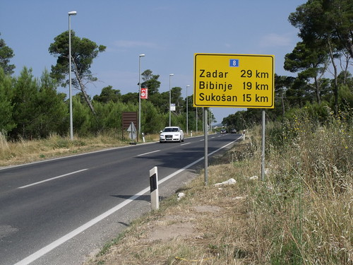 Road sign, Biograd na Moru, Croatia