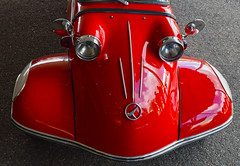 The Grin Reaper (oybay©) Tags: messerschmitt microcar bubblecar minicar smallcar redcar red car automobile german germany face facelike barrettjackson scottdale arizona smile content reflection mirror unique unusual bright cute