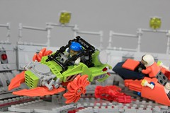 Blade Blaster (soccersnyderi) Tags: lego moc creation speeder bike overkill oval power miners racetrack scene