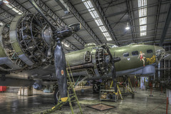 Maintaining the Memphis (Darwinsgift) Tags: memphis belle b17 ww2 bomber duxford imperial war museum cambridgeshire sally b hdr photomatix aircraft aviation pce nikkor 24mm f35 nikon d810 multiple exposure service hangar hdraward