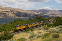 The young, old, and the restless (Patrick Dirden) Tags: railroad up oregon train gm northwest diesel engine rail columbiariver pacificnorthwest unionpacific locomotive pnw biggs freight columbiarivergorge freighttrain generalmotors manifest emd unionpacificrailroad sd70m electromotivedivision biggsor shermancounty up4324 upportlanddivision