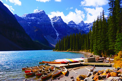 1 best MORAINE LAKE CANOES-01933 (Gerry Slabaugh) Tags: park mountain canada mountains rockies canadian national banff banffnationalpark canadianrockies gerryslabaugh