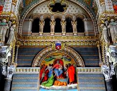 Magnificence of the inside of the Basilica de Notre Dame de Fourvire, Lyon (jackfre 2) Tags: france lyon basilica mosaics stainedglass ceiling frescoes basiliquedenotredamedefourvire guildedceilings impressiveceiling