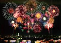 #124 Fireworks and Tokyo Bay (MI.KA.TO.) Tags: bridge night fireworks postcard postcrossing card nightview tokyobay rainbowbridge yakatabune