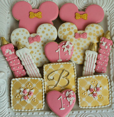 Girl Birthday Cookies (Snowflakelady) Tags: birthday old pink white girl cookies mouse gold one candle monogram year royal icing minnie transfers stenciled