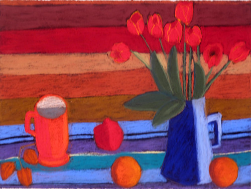 "Warm Stripes with Tulips - pastel on paper 22"" x 30"" $1100"