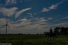 Brilliant Sky on Horseback (danfryer2) Tags: autumn horse fall windmill clouds barn andrea riding cloudporn sora