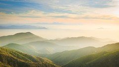 Islands in the Mist (ShutterJack) Tags: california sunset mist mountains green clouds landscape nikon hills arrowhead sanbernardino rimoftheworld jameshale jimhale shutterjack