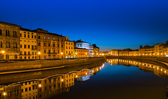 Pisa (Alex.Sebastian.H) Tags: reflection riflessi arno pisa nikkor2470 nikond610 water europe night longexposure alexsebastianh buildings blue