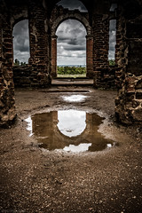 To the future... (Anthony P26) Tags: architecture bedfordshire category england houghtonhouse internal places travel english british greatbritain britain path arch pathway puddle water rain reflection architecturephotography bricks brickwork structure house mansion huntinglodge lodge ruin derelict ruins decay countryside rural view canon canon70d sigma1020mm clouds cloudysky cloudy cloud sky greysky greyclouds