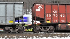 Pittsburgh Line: Coal Meets FedEx (Images by A.J.) Tags: train railroad railway rail transportation conrail fedex freight car hopper gon gondola coal pan blur motion artistic speed