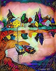 Boats (clabudak) Tags: boats pond water landscape nature sailboats houses artwork reflection ostagram colorful bright