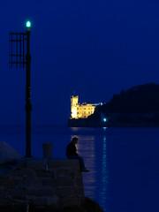 In the silence of dawn (andreasulini) Tags: castellomiramare golfo lungomare alba orablu persona lumixfz200 triesteitalia