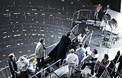 Bob Anderson as Darth Vader and Mark Hamill as Luke Skywalker filming their Cloud City duel (Tom Simpson) Tags: markhamill lukeskywalker darthvader bobanderson starwars behindthescenes vintage theempirestrikesback empirestrikesback movie film