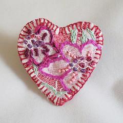 Magenta Heart brooch - embroidered felt (Lynwoodcrafts) Tags: brooch feltbrooch heartbrooch magenta pink embroidered embroidery embroideredbrooch