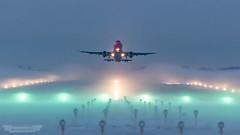 Aviation Fog (www.kasvanzonneveld.com) Tags: groningen airport eelde grq ehgg fog weather departure takeoff wizzair airbus a320 light runway morning dawn