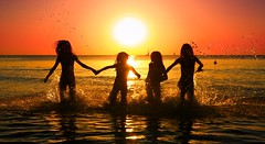 My daughter & her friends bathing in the sea at sunset - Tel-Aviv beach (Lior. L) Tags: mydaughterherfriendsbathingintheseaatsunsettelavivbeach friends bathing sea sunset telaviv beach silhouettes seascapes travel travelinisrael israel telavivbeach