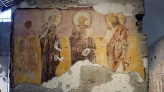 Deësis with donor at left (left pier), 1st half of the 8th century, Santa Maria Antiqua, Rome