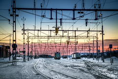Kiruna Station (Steven-CH) Tags: track dawn sweden locomotive canon electrified snow trainstation kirunastation greencargo lapland travel catenary train lkab artic railway morning europe eos5dmarkiv kiruna norrbottenslän se s really great capture