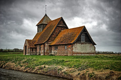 St Thomas à Becket Church (A Guy Taking Pictures) Tags: st thomas à becket fairfield church hdr 5 exposures sony a6000 dark gloomy atmosphere grass wildlife building stormy sky clouds rain romney march kent uk south east river water courses england nature walking walk traditional brick wood roof 5xp